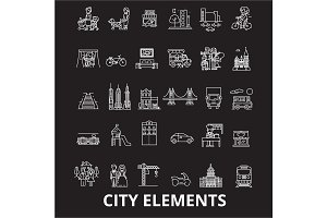 City elements editable line icons
