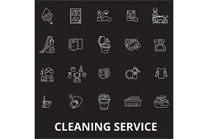 Cleaning service editable line icons