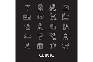 Clinic editable line icons vector