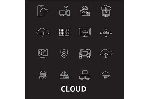 Cloud editable line icons vector set
