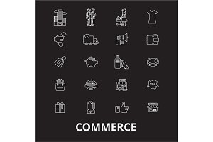 Commerce editable line icons vector
