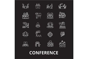 Conference editable line icons