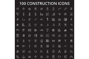 Construction editable line icons