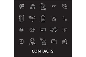 Contacts editable line icons vector