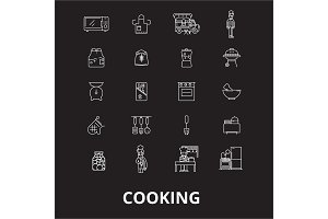 Cooking editable line icons vector