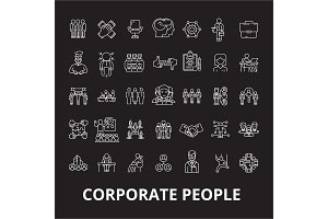 Corporate people editable line icons
