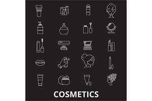 Cosmetics editable line icons vector