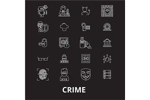 Crime editable line icons vector set