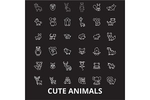 Cute animals editable line icons