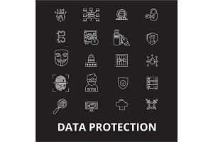 Data protection editable line icons
