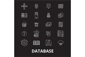 Database editable line icons vector