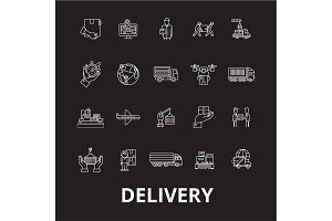 Delivery editable line icons vector