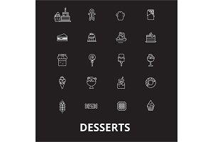 Desserts editable line icons vector