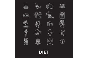 Diet editable line icons vector set