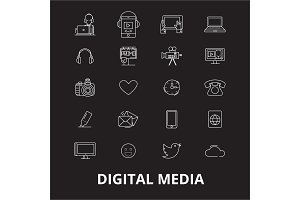 Digital media editable line icons