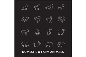Domestic farm animals editable line
