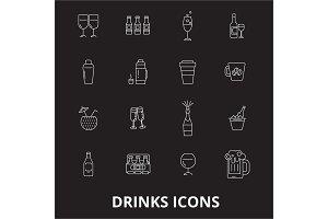 Drinks editable line icons vector