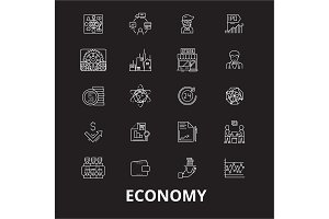 Economy editable line icons vector