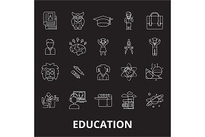 Education editable line icons vector