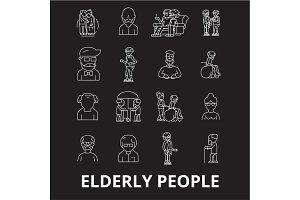 Elderly people editable line icons