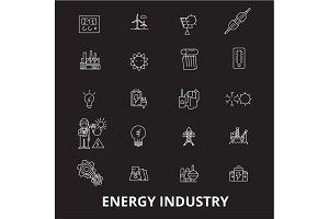 Energy industry editable line icons