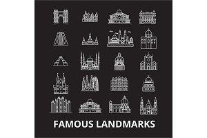 Famous landmarks editable line icons