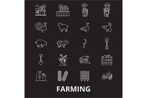 Farming editable line icons vector