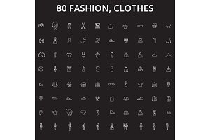 Fashion, clothes editable line icons