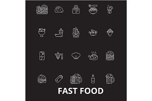 Fast food editable line icons vector