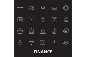 Finance editable line icons vector