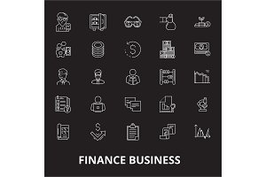Finance business editable line icons