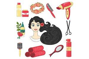 Vector, hair care network set