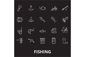 Fishing editable line icons vector