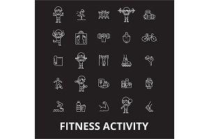 Fitness activity editable line icons