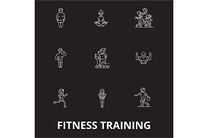 Fitness training editable line icons