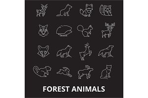 Forest animals editable line icons