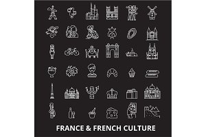 France editable line icons vector