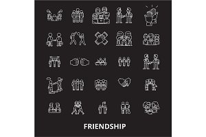 Friendship editable line icons