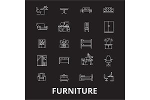 Furniture editable line icons vector