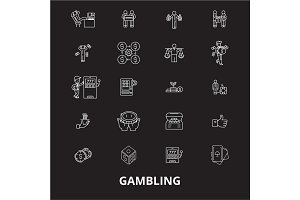 Gambling editable line icons vector