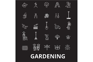 Gardening editable line icons vector