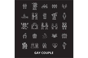 Gay couple editable line icons