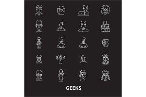 Geeks editable line icons vector set
