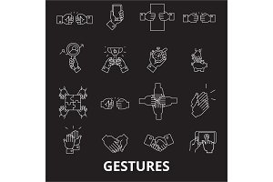 Gestures editable line icons vector