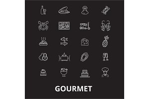Gourmet editable line icons vector