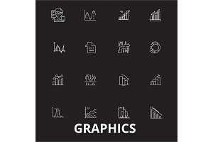 Graphics editable line icons vector