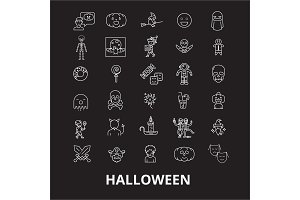 Halloween editable line icons vector