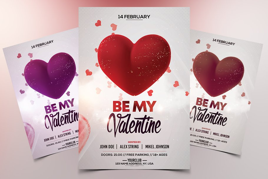 Be My Valentine Psd Flyer Template Flyer Templates Creative Market