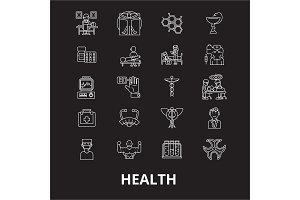 Health editable line icons vector