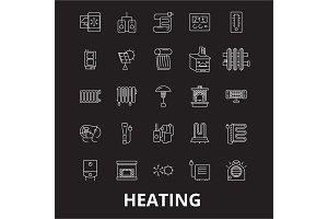 Heating editable line icons vector